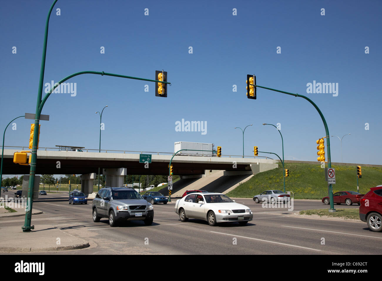 8th street and circle drive junction intersection flyover Saskatoon Saskatchewan Canada - Stock Image
