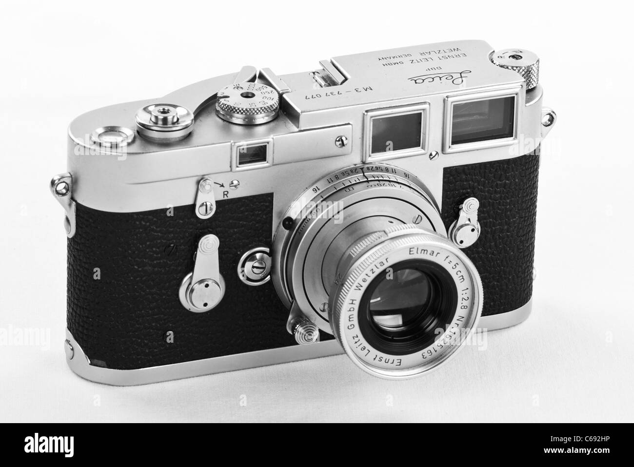 Classic leica 35mm m3 rangefinder camera with 50mm elmar lens 1950s modernist design icon black and white image