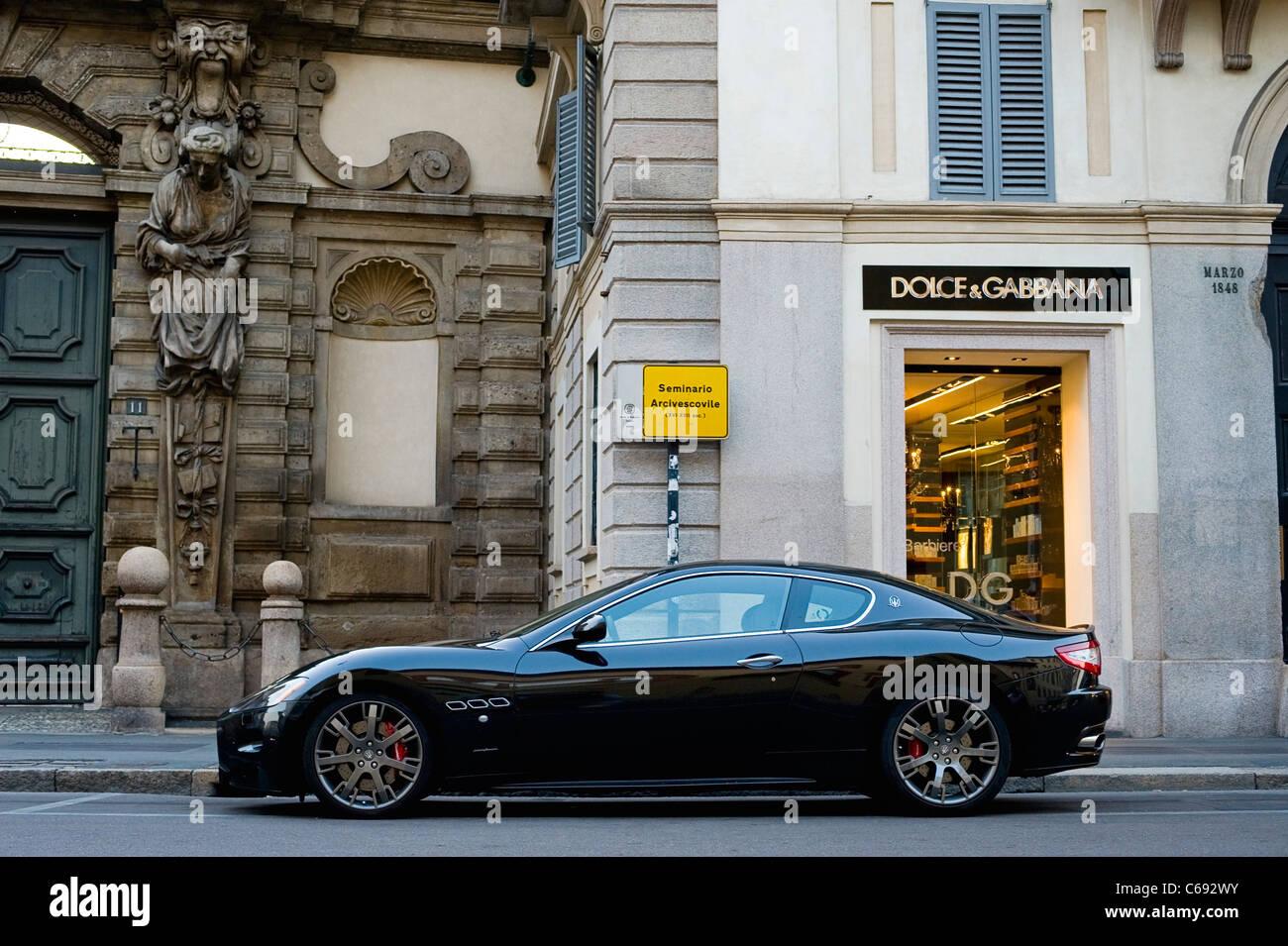 maserati gt parked in milan - Stock Image