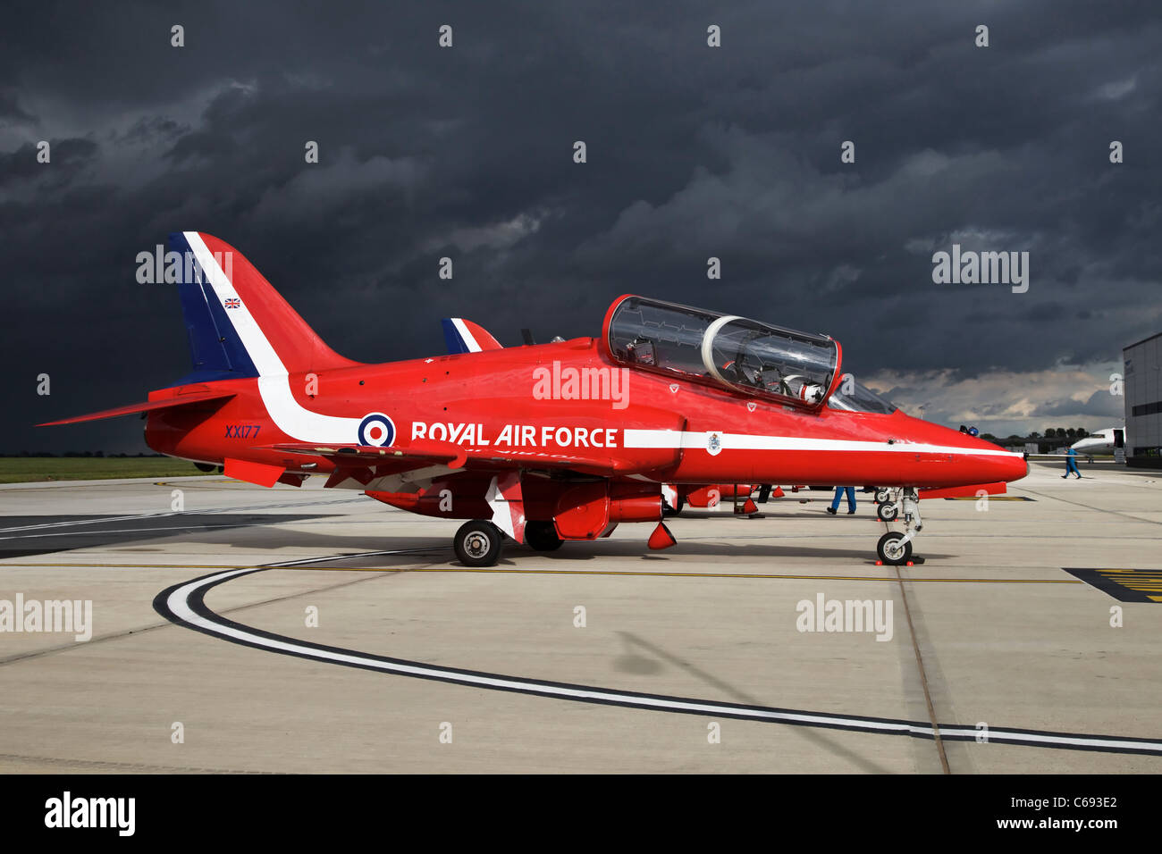 A Bae systems Hawk T1 training aircraft of the RAF's Red Arrows aerobatic team Red One the team leaders aircraft - Stock Image