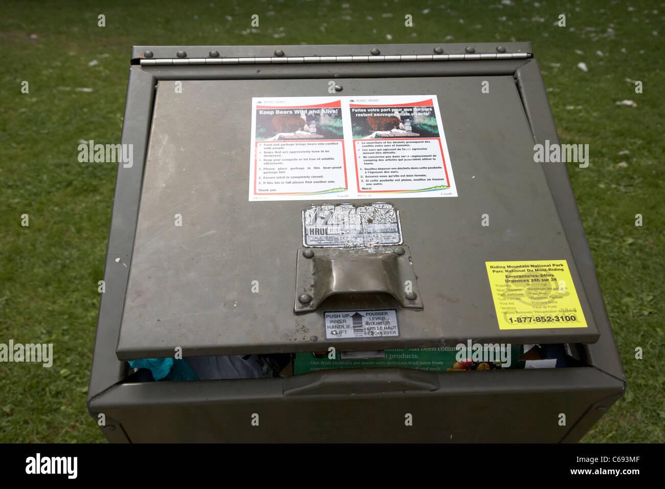 bear proof litter bin left open riding mountain national park Manitoba Canada - Stock Image