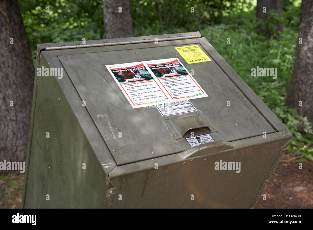 closed and locked bear proof litter bin riding mountain national park Manitoba Canada - Stock Image