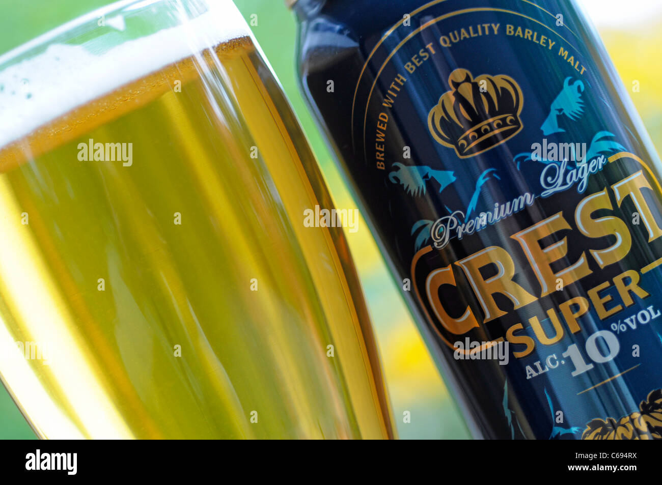Beer Glass and Can, Crest Lager, UK Beer - Stock Image