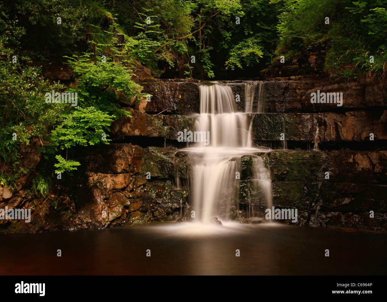 Waterfall at Bowlees Country Park, Teesdale, County Durham, England - Stock Image