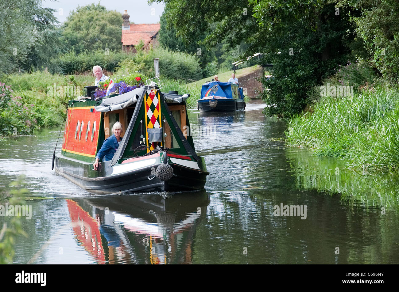 Narrow Boats on The Wey Navigation -1 - Stock Image