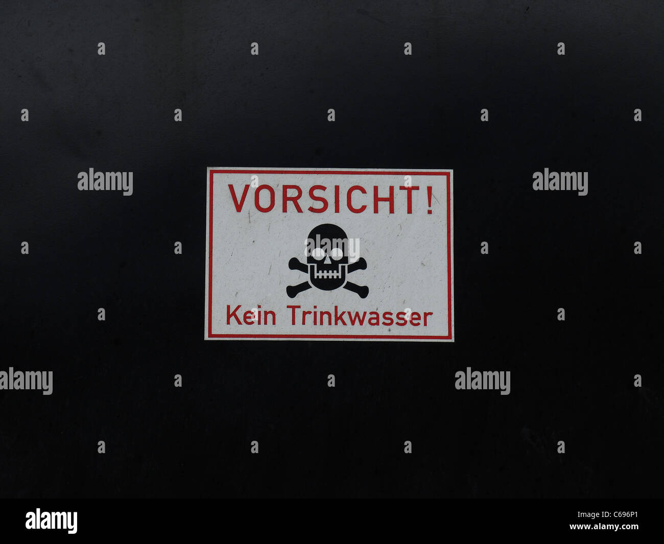 Vorsicht! Kein Trinkwasser sign on side of a Steam Engine in Germany Stock Photo