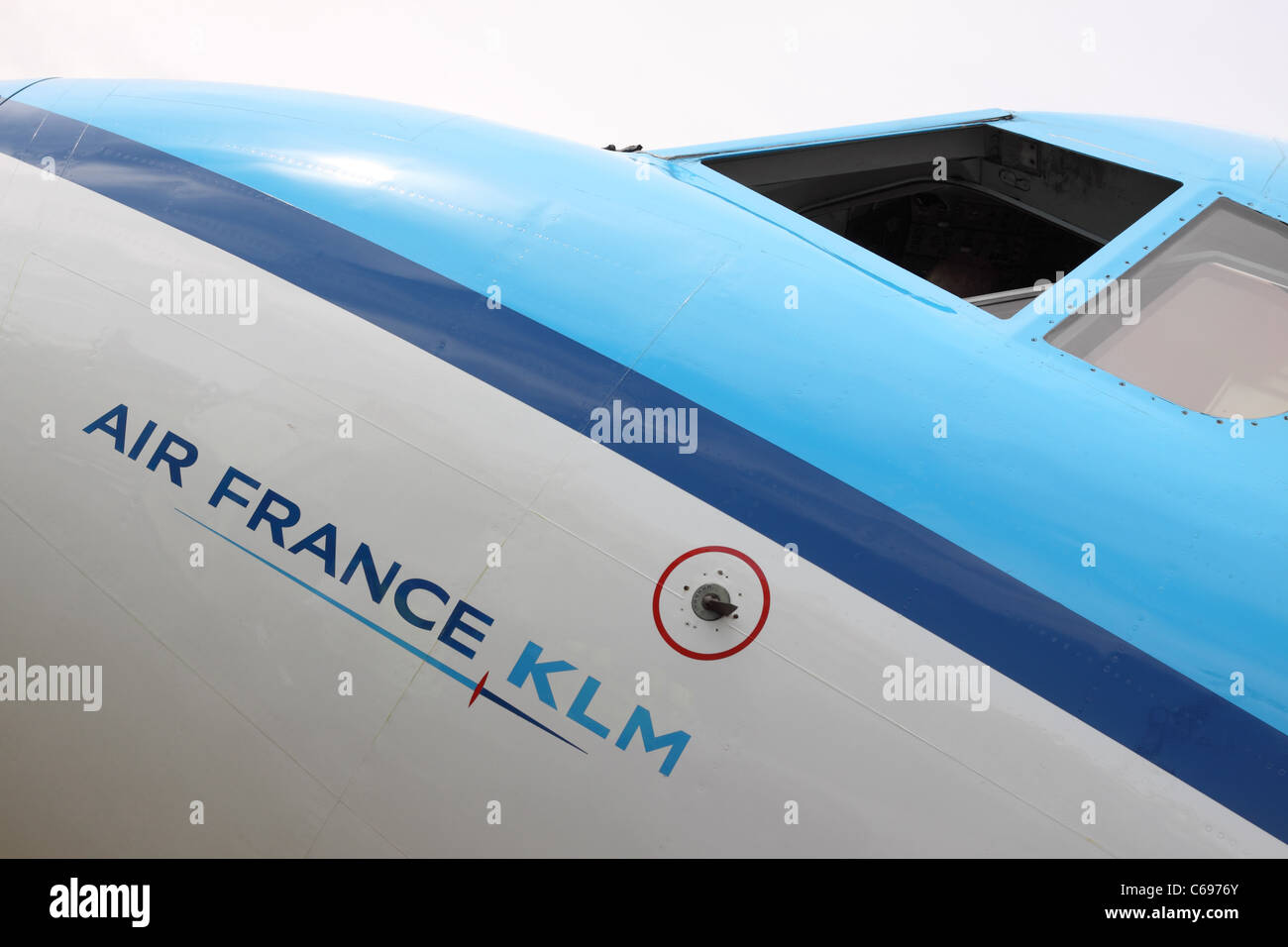 Air France KLM was formed in 2004 after the merging of airlines Air France and KLM - Stock Image