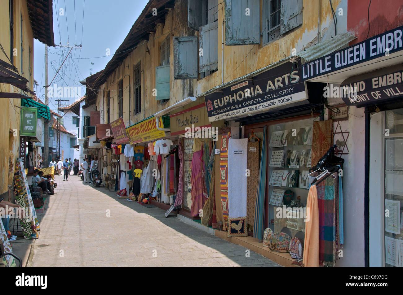 Back street in Jew Town Kochi Kerala South India - Stock Image