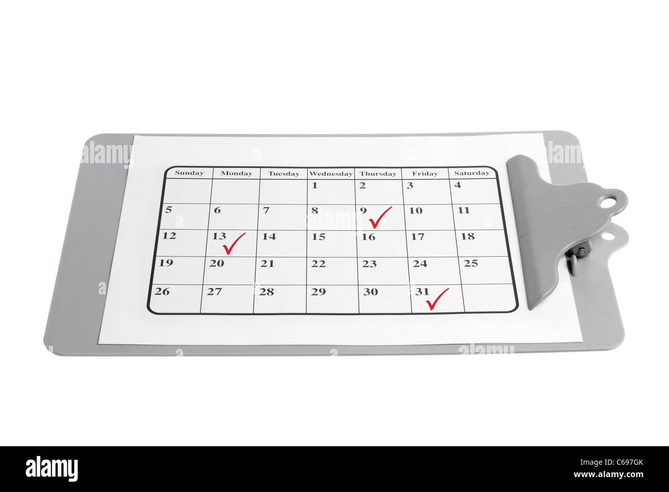 Clipboard with Calendar Page - Stock Image