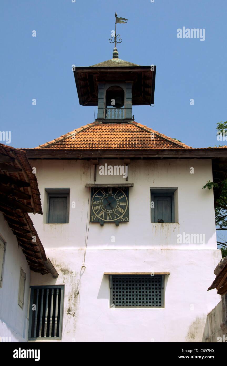Clock Tower Pardesi Synagogue Jew Town Kochi Kerala South India - Stock Image