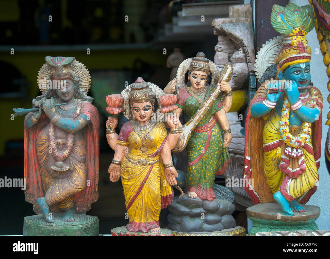 Statues of Hindu gods in shop window Jew Town Kochi Kerala South India - Stock Image