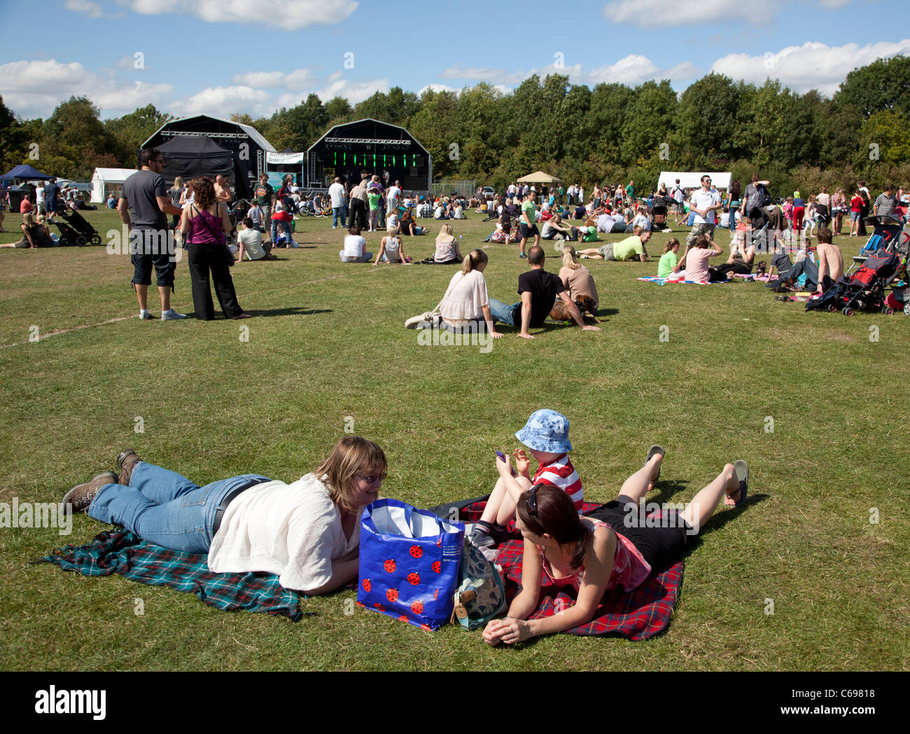 Audience at a Family Festival in Worcestershire, UK. - Stock Image