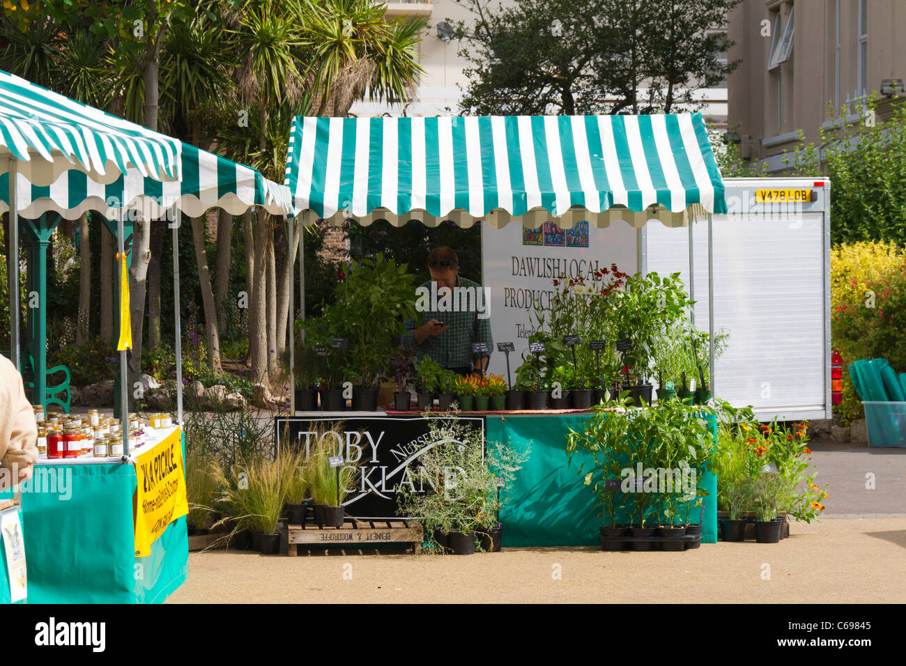 Toby Buckland working on his own market stall in Dawlish Devon - Stock Image