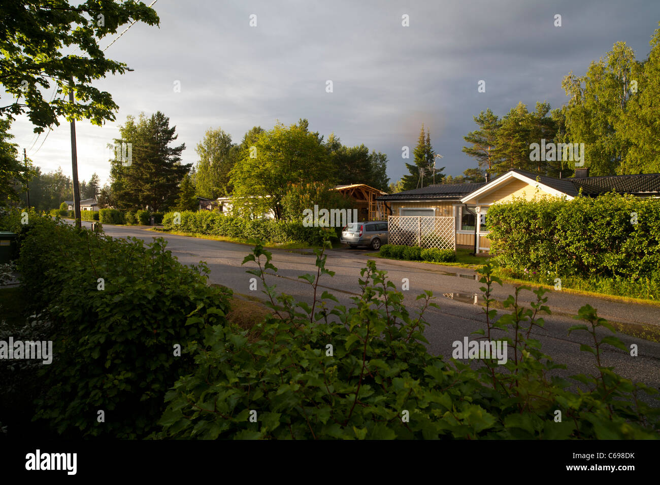 Houses in Finnish suburb , Finland - Stock Image