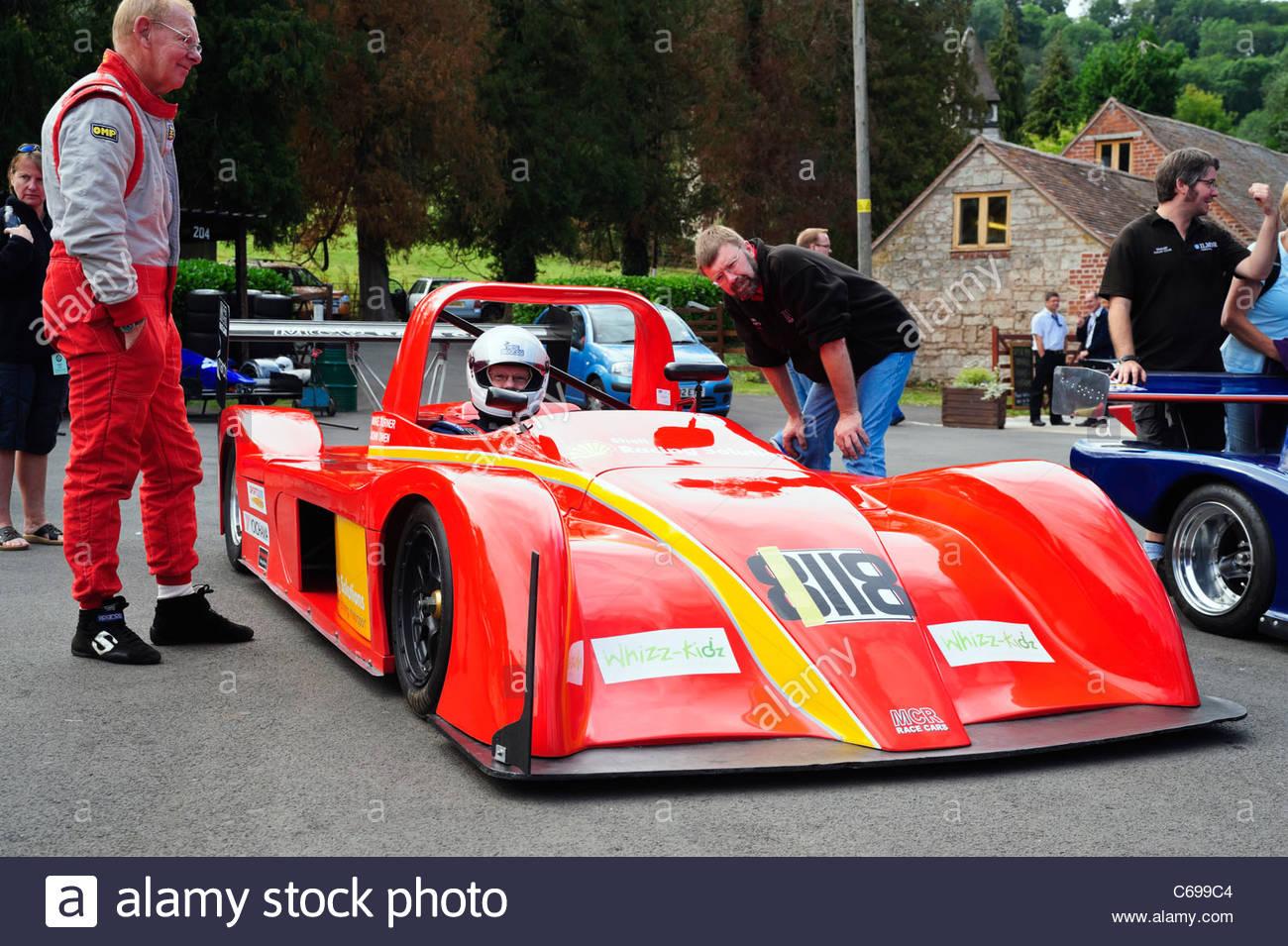 John Owen driving an MCR S2000 racing car at Shelsley Walsh Hill climb, Worcester, England, UK. - Stock Image