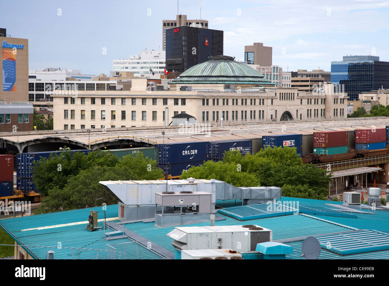 view of rear of union station and railway lines from the forks Winnipeg Manitoba Canada - Stock Image