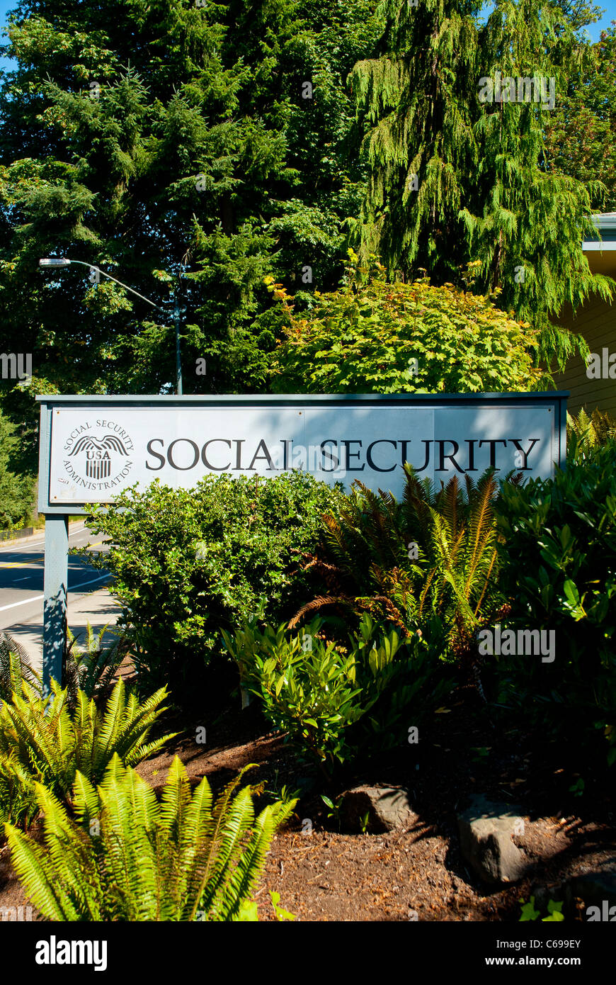 Sign in driveway of Social Security Office in Olympia, Washington State. - Stock Image