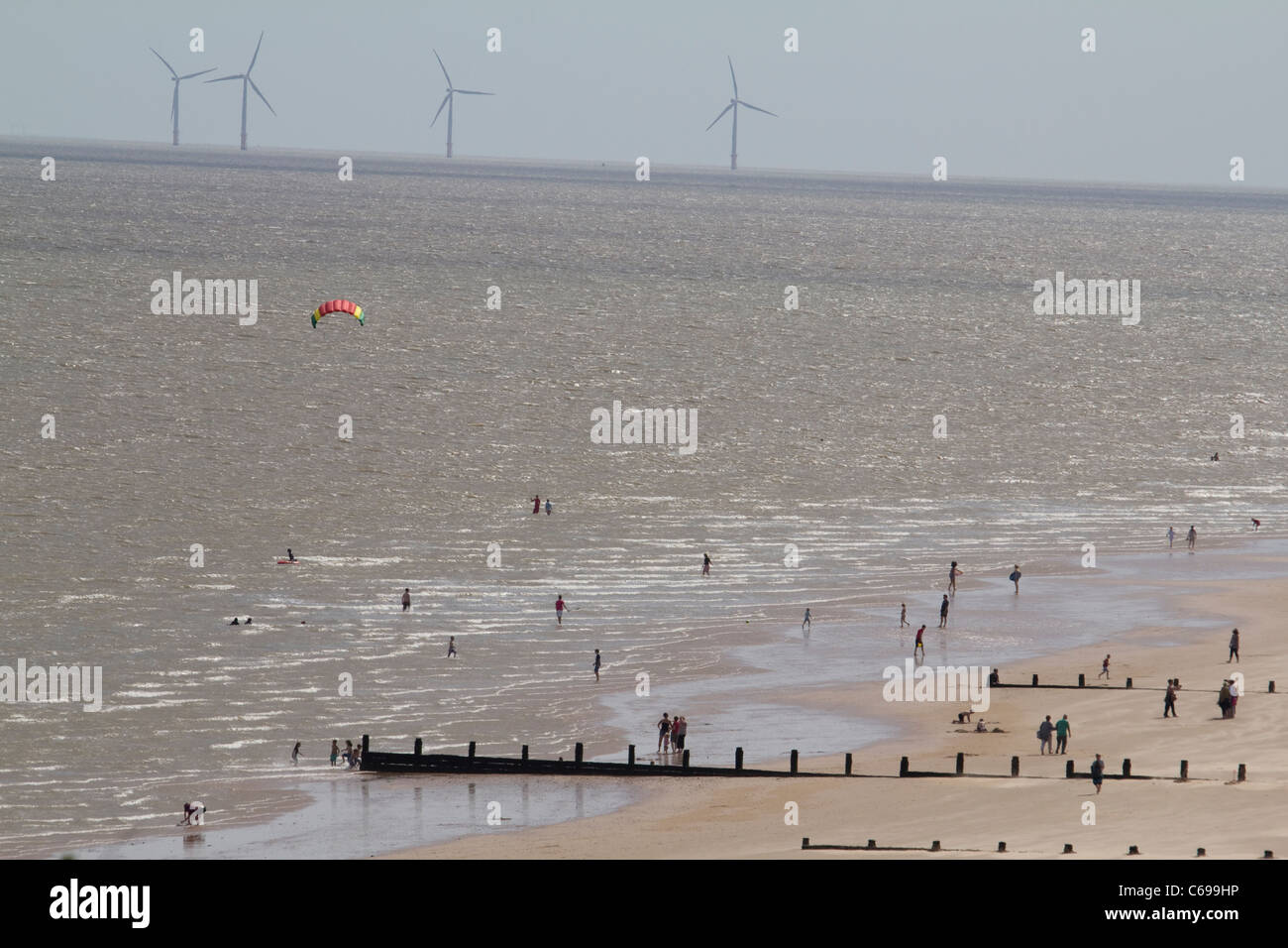 Frinton essex Gunfleet Sands national grid wind turbines in north sea - Stock Image