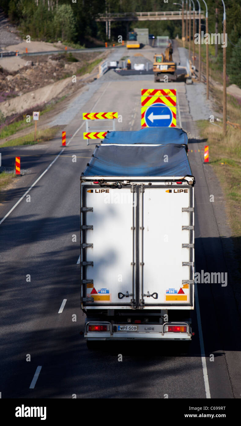 Roadworks at highway , traffic diverted to a temporary road , Finland - Stock Image