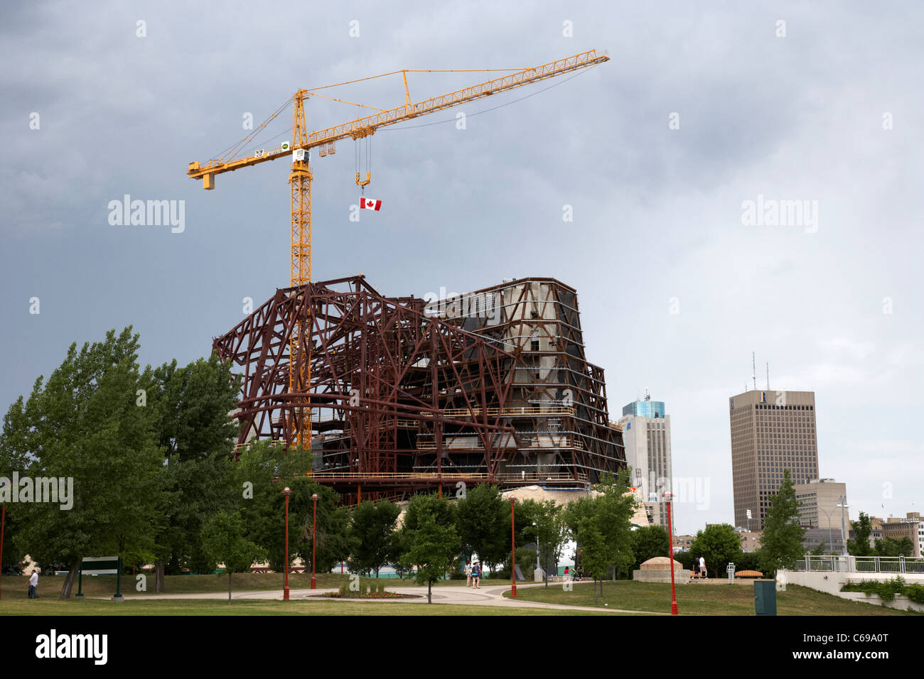 construction underway at the new canadian museum for human rights the forks Winnipeg Manitoba Canada - Stock Image