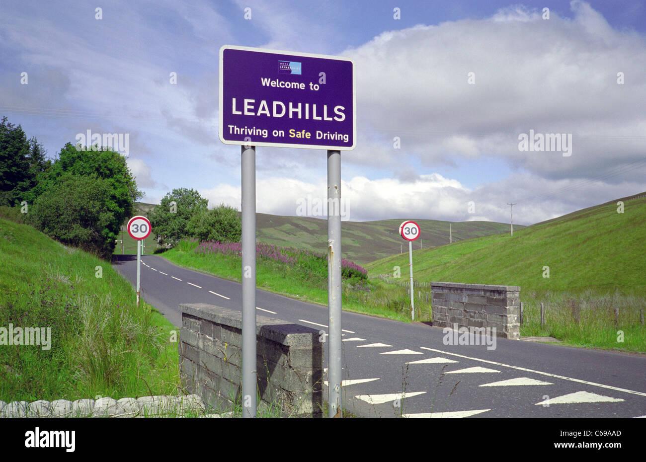 Entrance Sign to the Village of Leadhills, South Lanarkshire, Scotland, UK - Stock Image