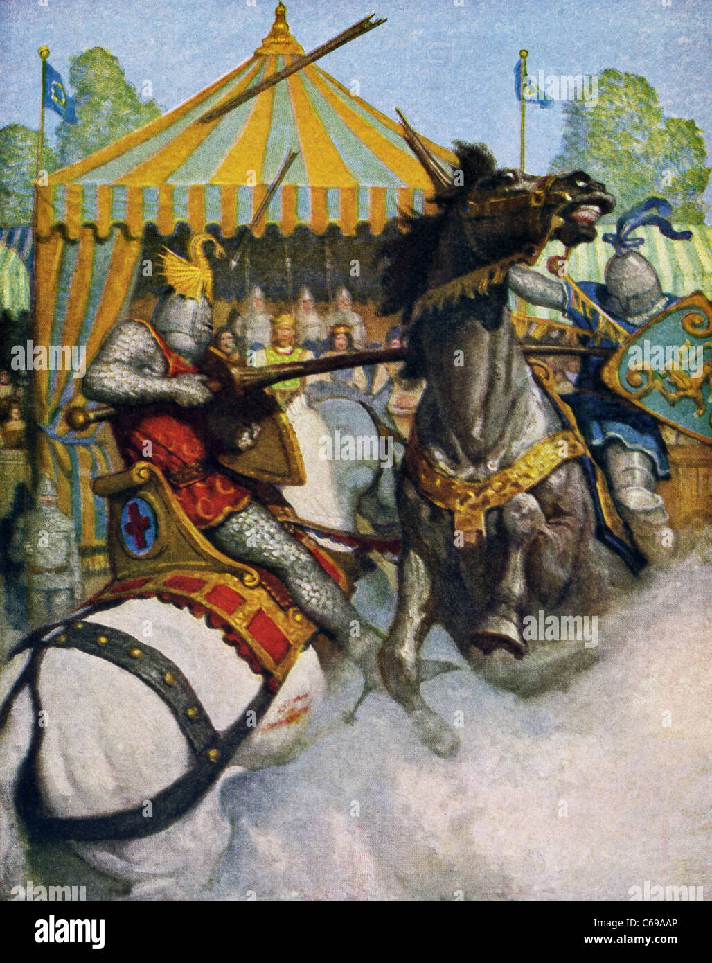 In this joust in front of the royal tent, Sir Mador's spear (right) breaks to pieces and Launcelot's holds - Stock Image