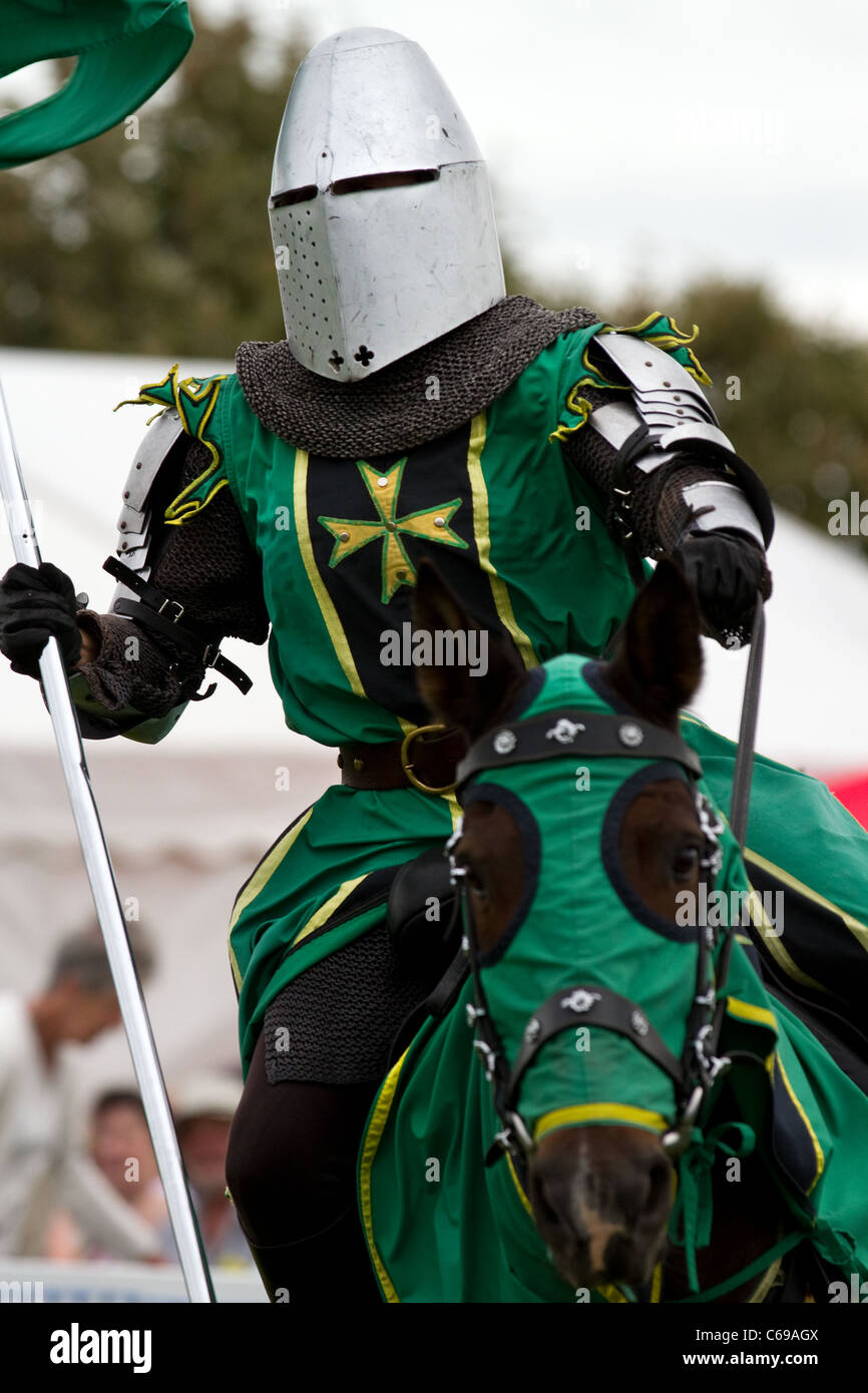 TV & film stuntman, JUSTIN PEARSON, performing with the spectacular Knights of the Damned jousting medieval display Stock Photo