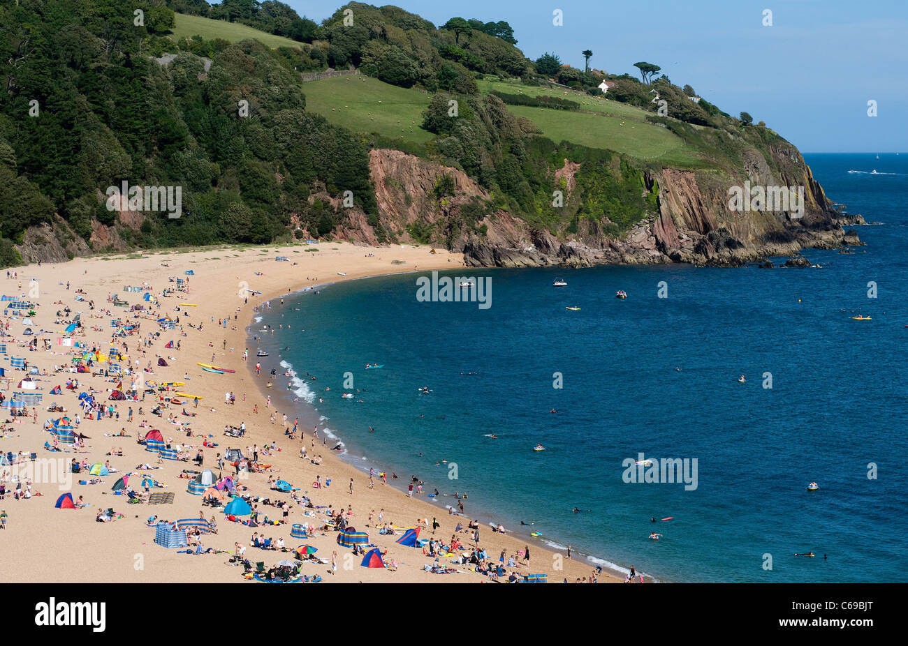 Blackpool Sands in Peak summer,Princess Diana and James Hewitt,Sandy Devon cove in South Devon,South West Coast - Stock Image