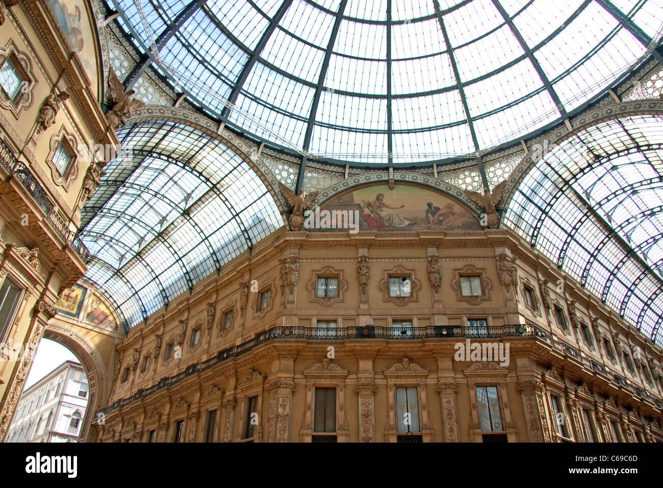Galleria Vittoria Emanuele II in Milan, Italy - Stock Image