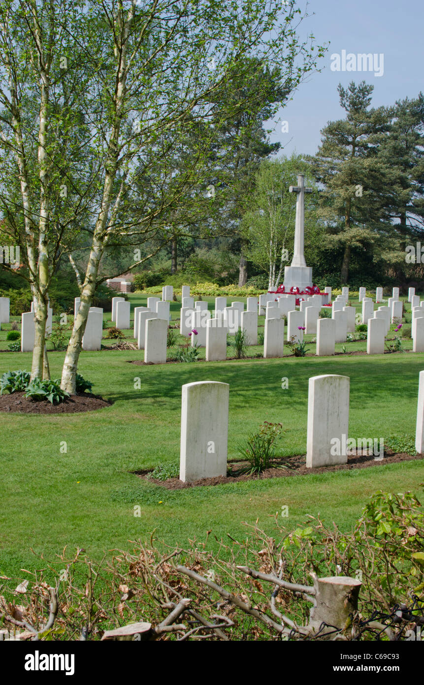 War memorial and graves at the German military cemetery, Cannock Chase, Staffordshire, England, UK Stock Photo