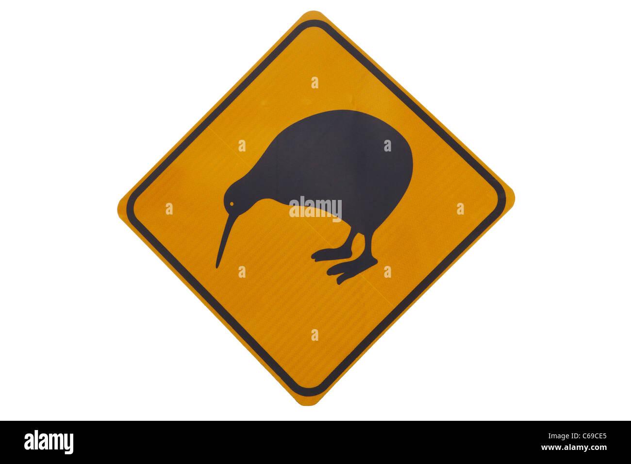 Iconic yellow Kiwi warning sign - Stock Image