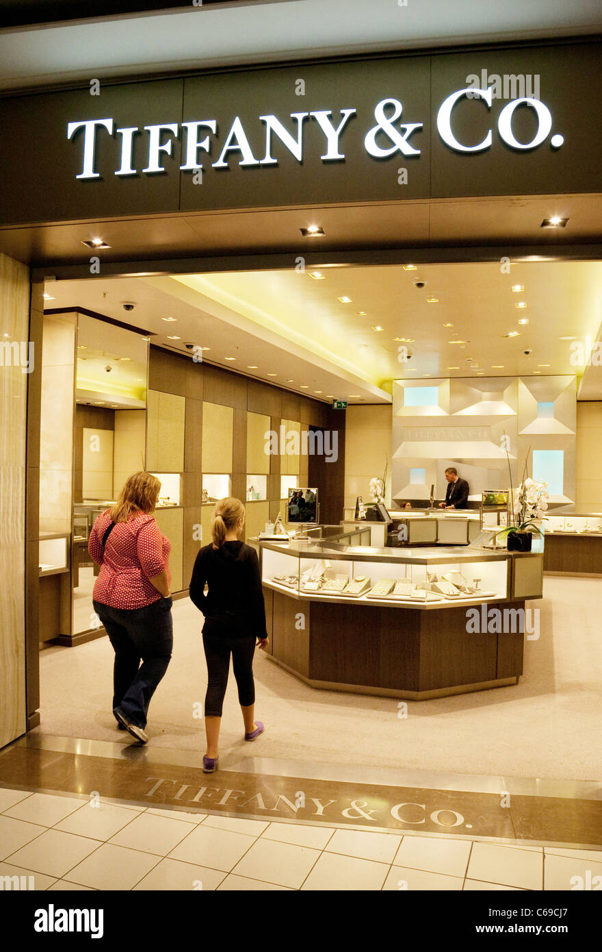 a4365bef7 Tiffany & Co. jewellers at Termianl 3, Heathrow airport London UK - Stock  Image
