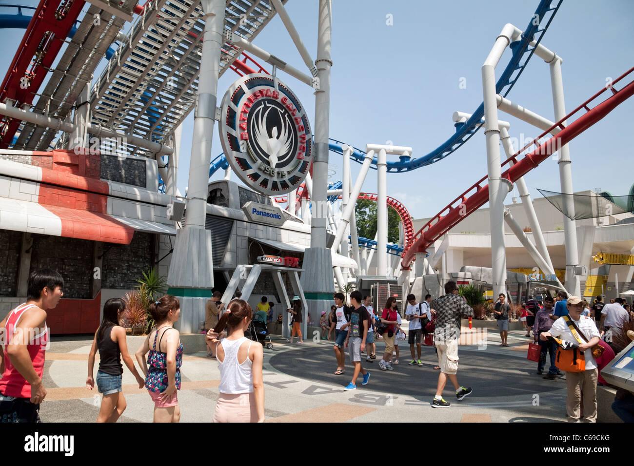 The 'Battlestar Galactica' roller coaster ride in Sci-Fi world, Universal Studios, Sentosa island Singapore - Stock Image