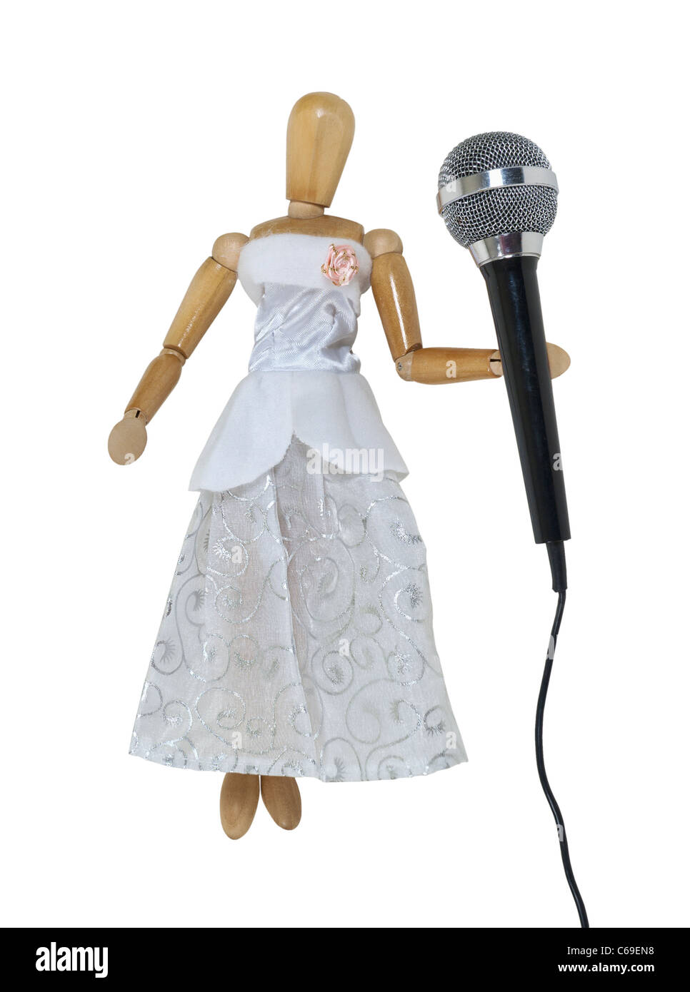 Woman in a formal white dress using an audio microphone used to amplify communication - path included - Stock Image