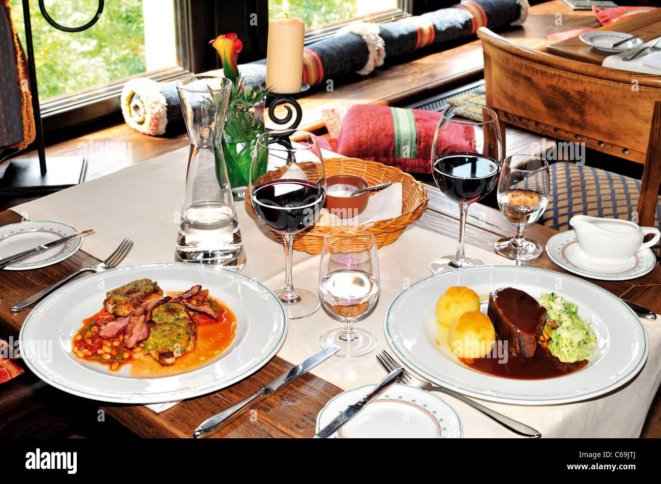 Germany, Eisenach: Lunch with regional specialties in the Hotel Auf der Wartburg - Stock Image