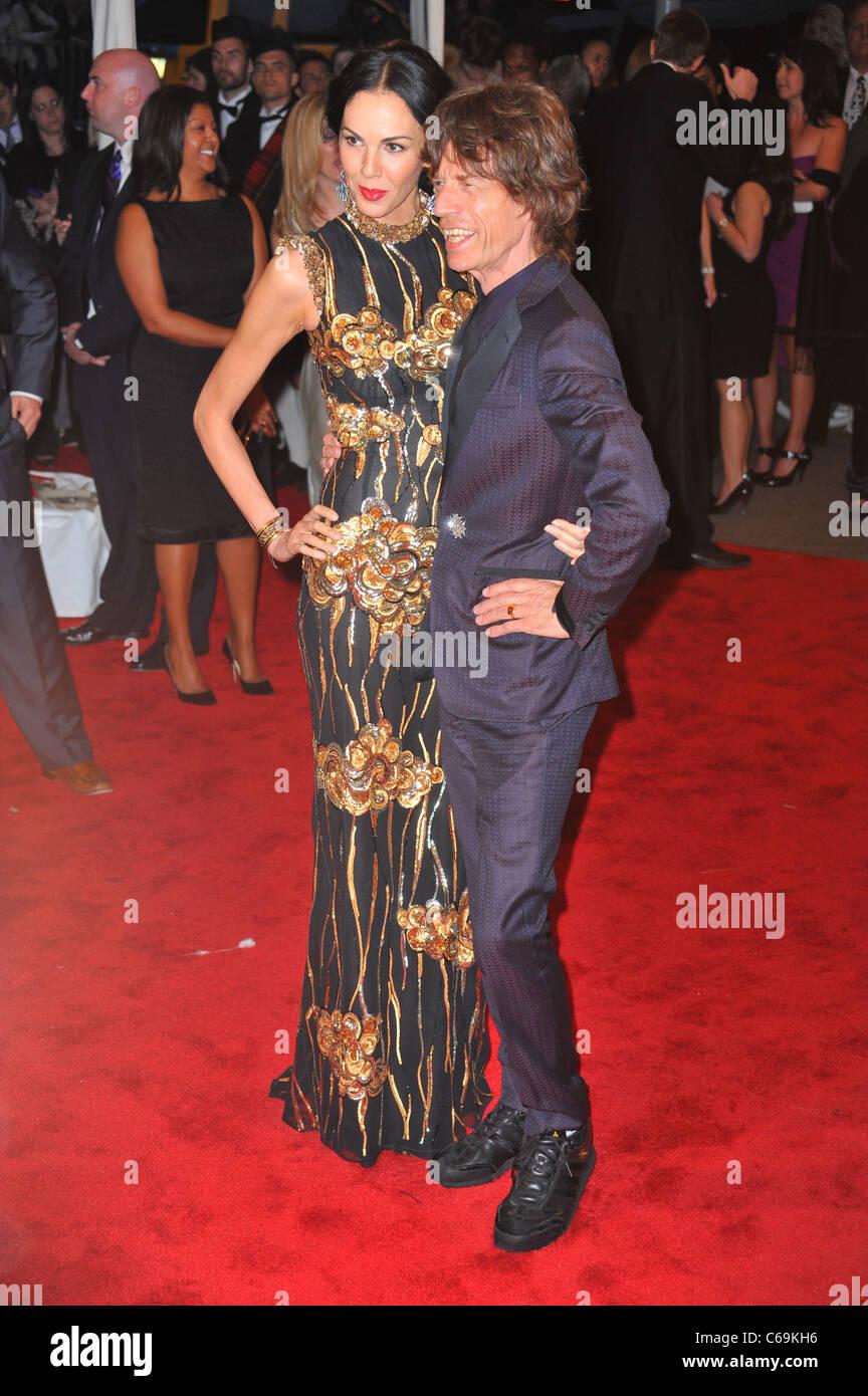 L'Wren Scott, Mick Jagger at arrivals for Alexander McQueen: Savage Beauty Opening Night Gala - Part 1, Metropolitan - Stock Image