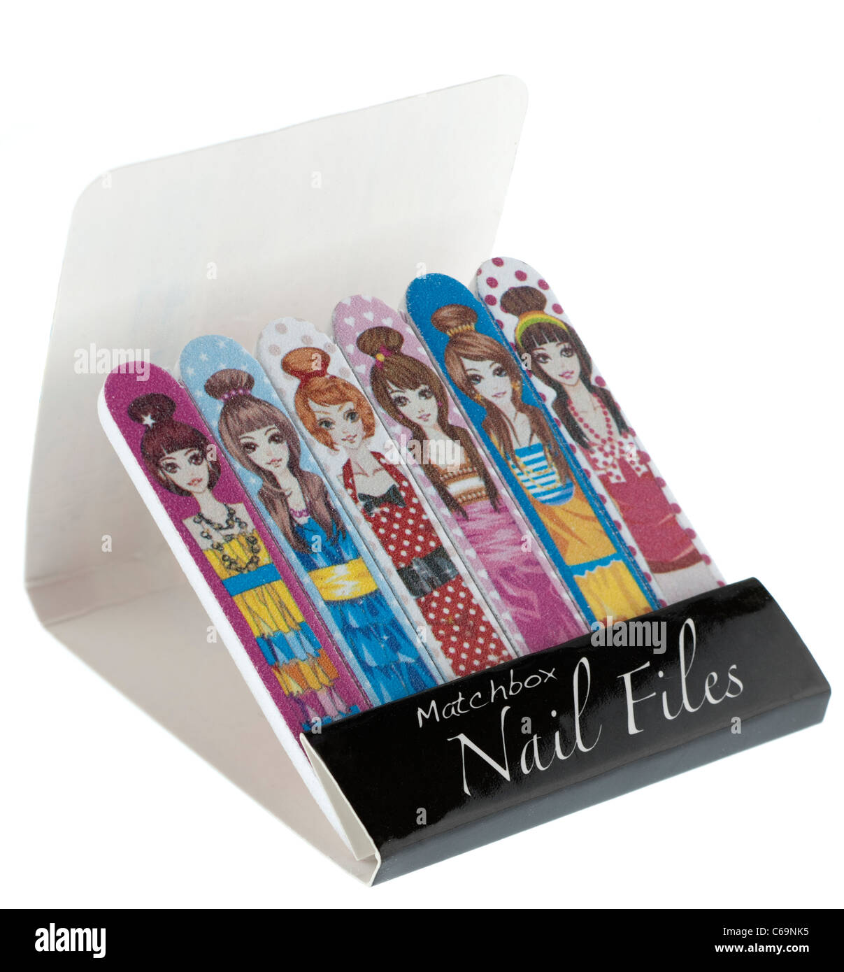 Matchbox type style of small patterned nail files - Stock Image