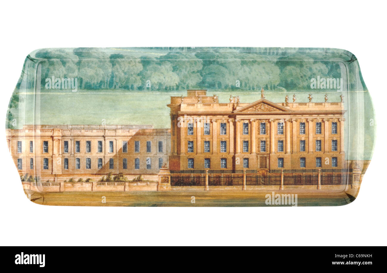 Oblong melamine sandwich tray displaying Chatsworth House - Stock Image