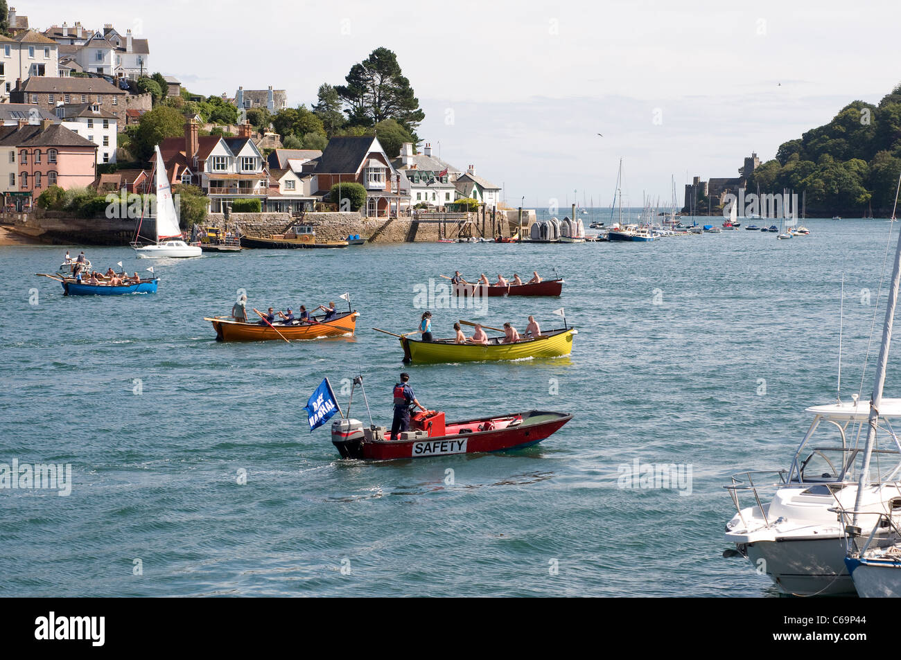 Safety boat on River Dart for Dartmouth Regatta,kingwear, South Devon,Gig racing,Race Marshall watching gigs racing - Stock Image