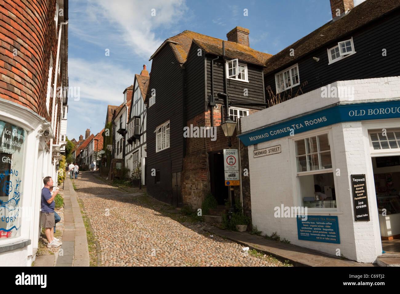 Mermaid Street, Rye, East Sussex, England, UK - Stock Image