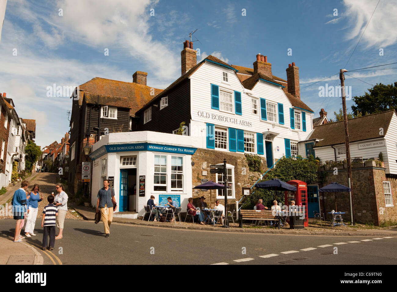 Mermaid Corner Tea Rooms and Old Borough Arms hotel, Rye, East Sussex, England, UK - Stock Image