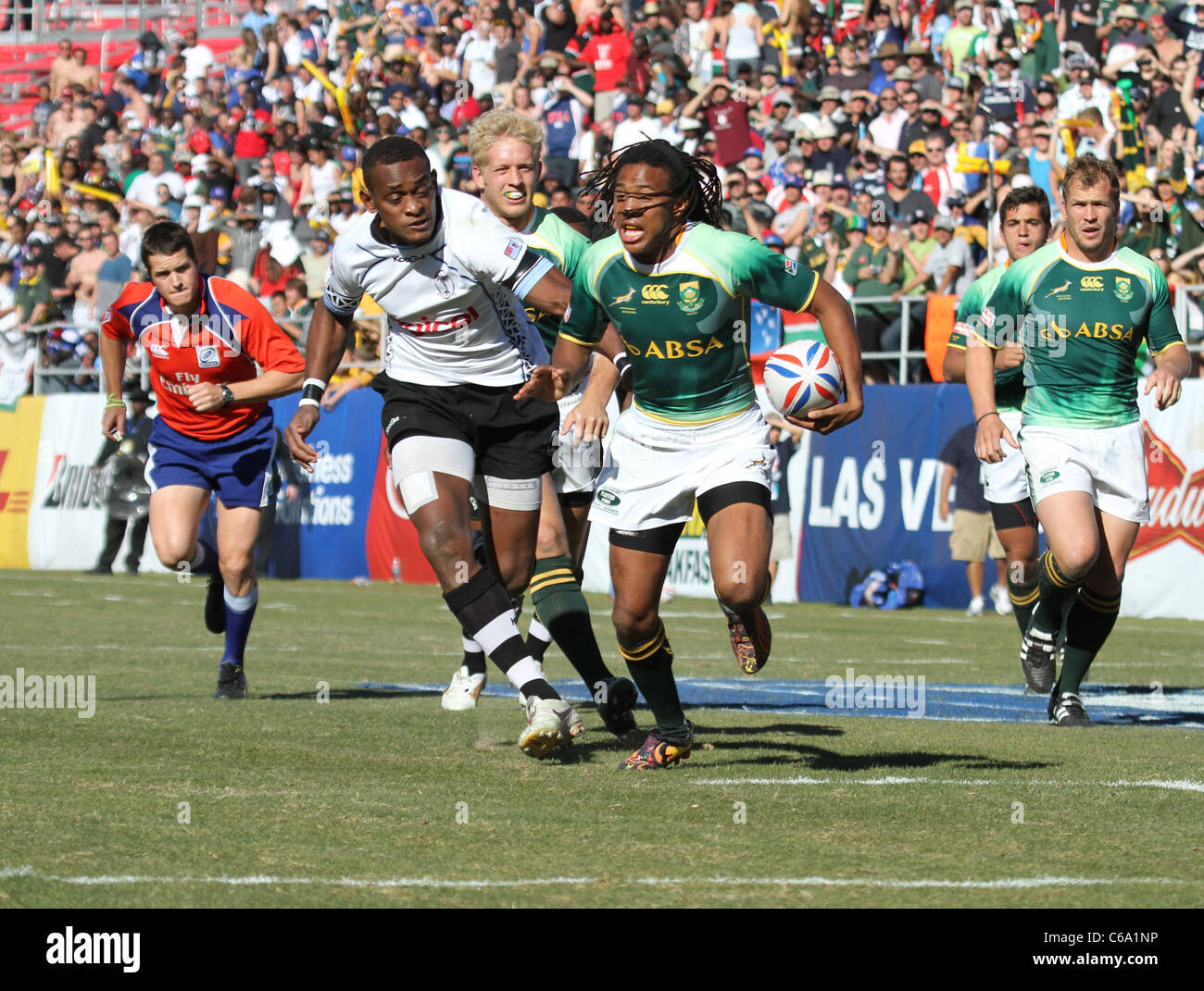 Mitieli Nacagilevu of Fiji, Cecil Afrika of South Africa at a public appearance for The 2011 USA Sevens Rugby Tournament - Stock Image