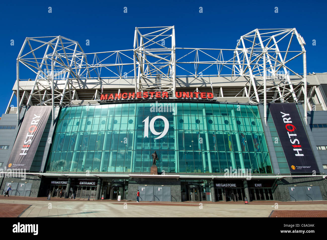 Main entrance of Manchester United Football Club's ground at Old Trafford in Manchester, England. - Stock Image