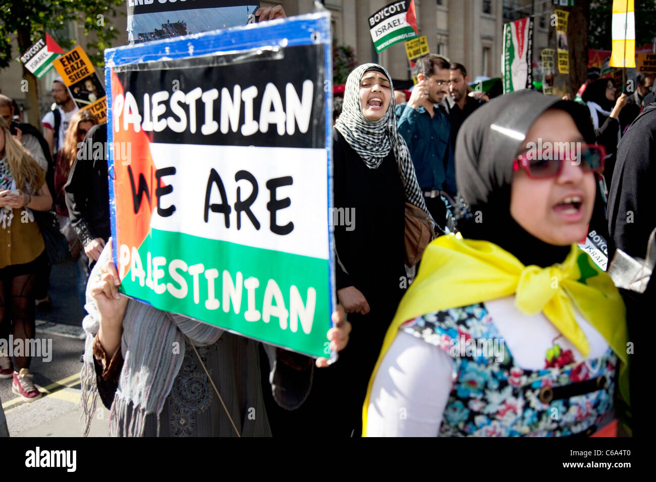 Palestinian anti Israeli / Zionism demonstration in London. Palestinians protesting against occupation and a closed - Stock Image