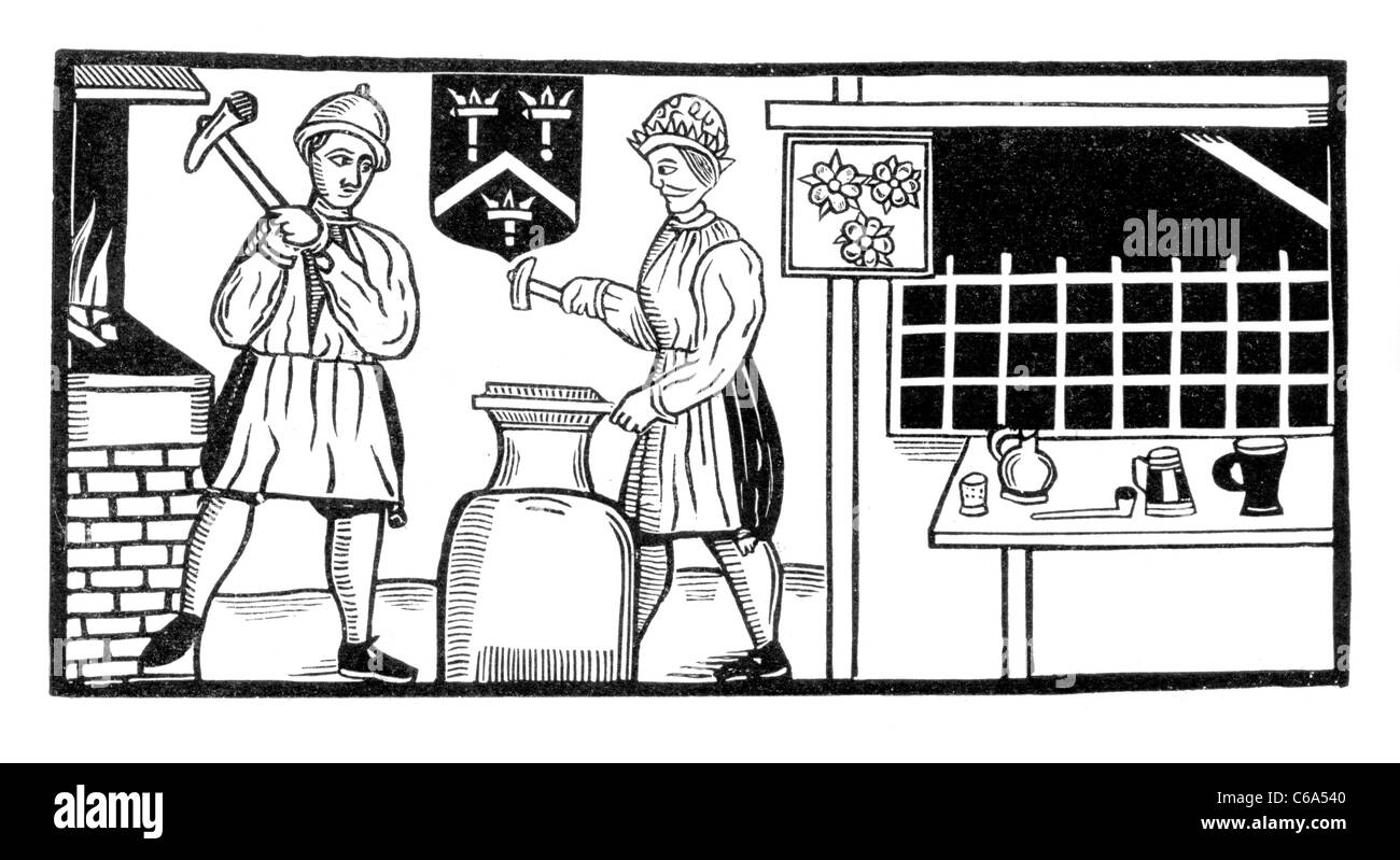 17th Century Blacksmith's from a Ballad in the Roxburgh Collection; Black and White Illustration - Stock Image