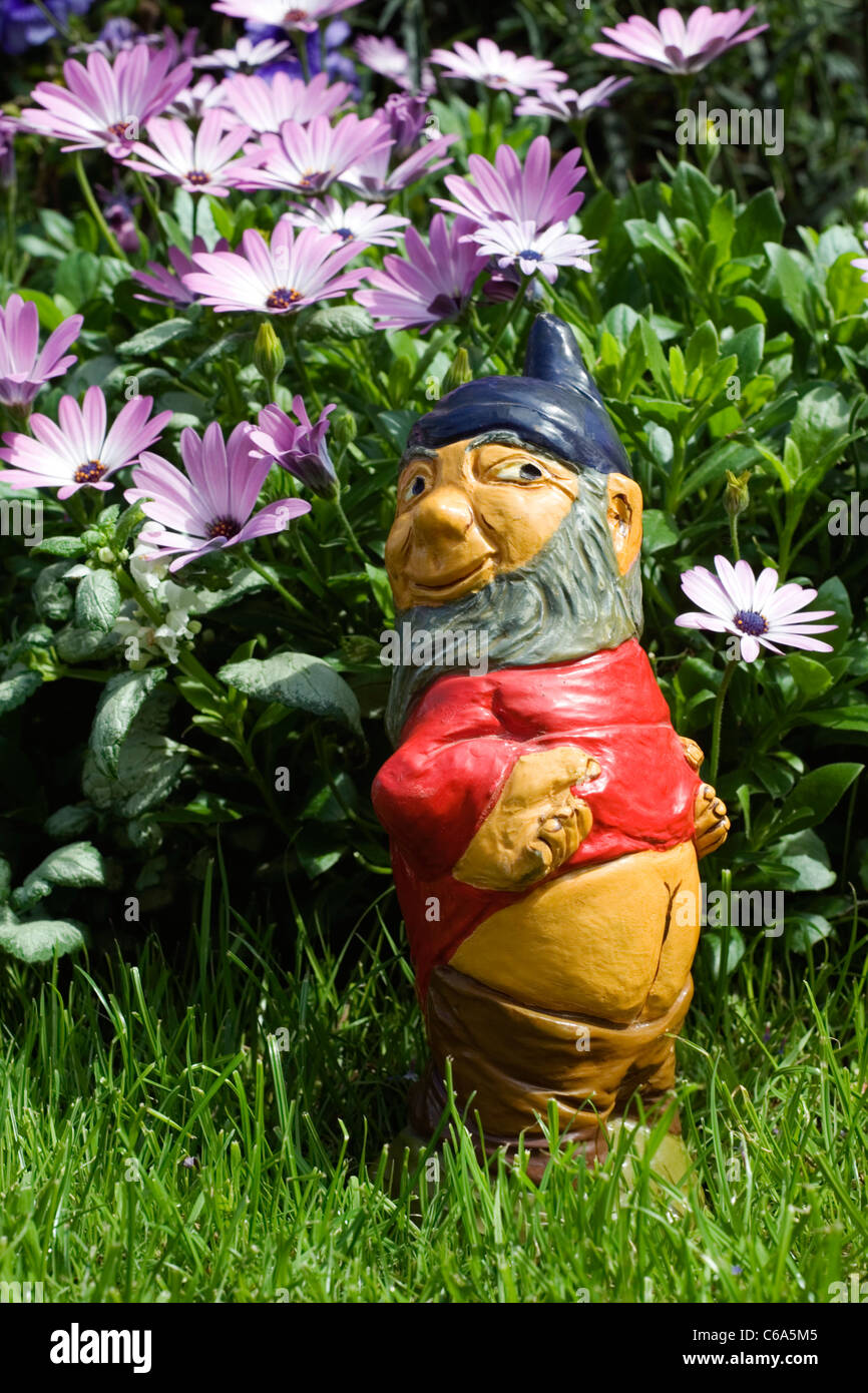 cheeky rude gnome in residential garden - Stock Image
