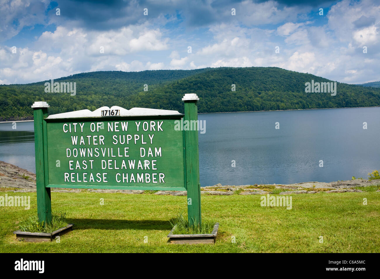 Pepacton Reservoir aka Downsville Dam supplies 25% of drinking water for NYC, Delaware County, Catskills, New York - Stock Image