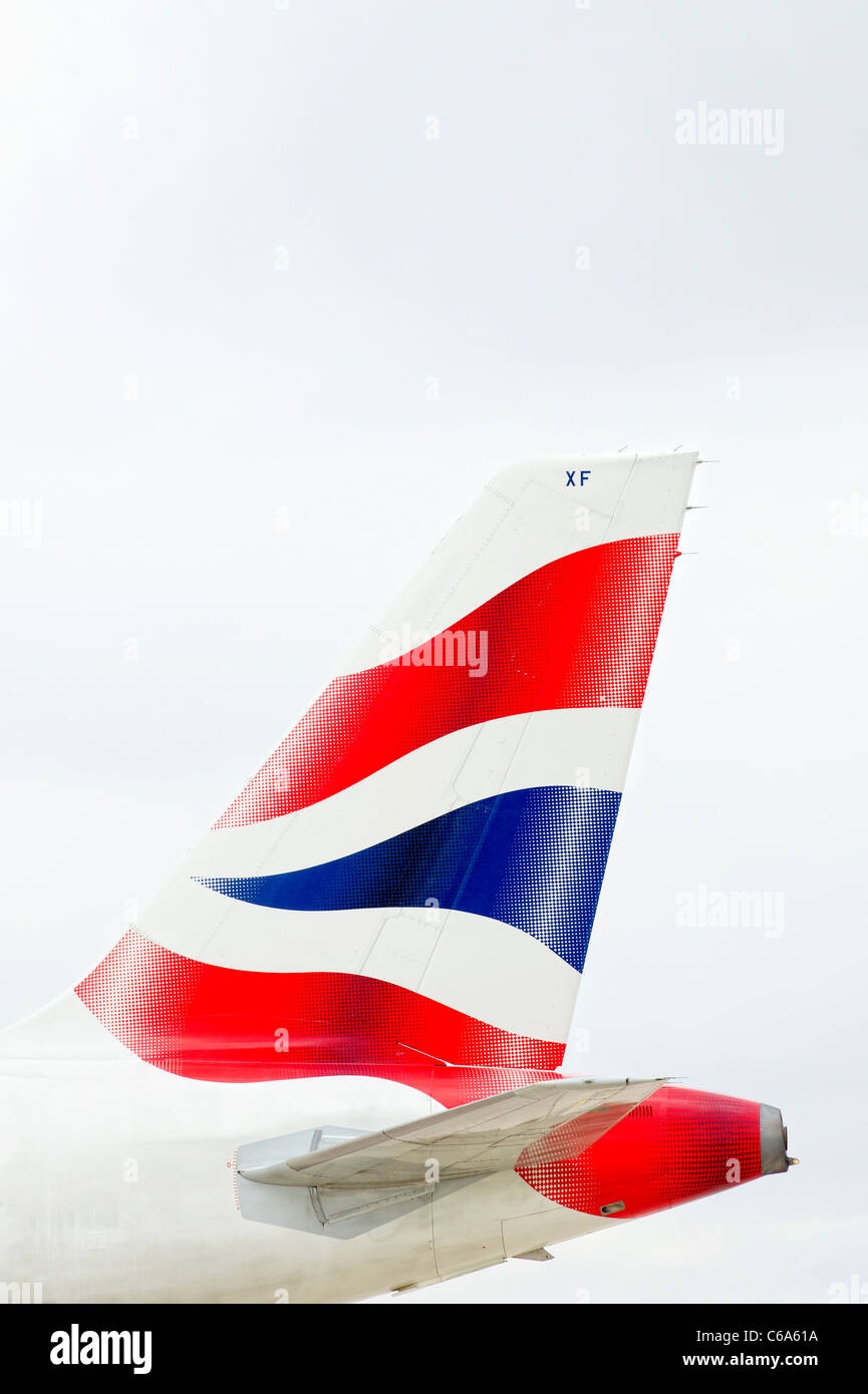 Tail and logo on a British Airways aircraft Stock Photo