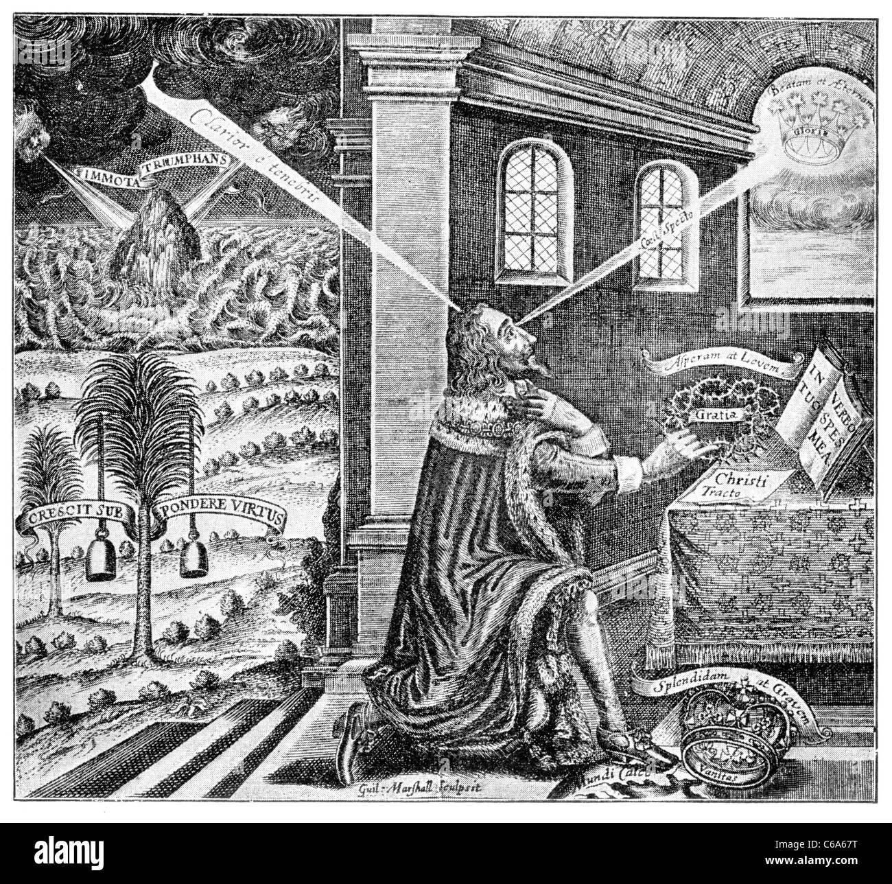 Frontispiece of 'Eikon Basilike', 1648; Black and White Illustration; - Stock Image