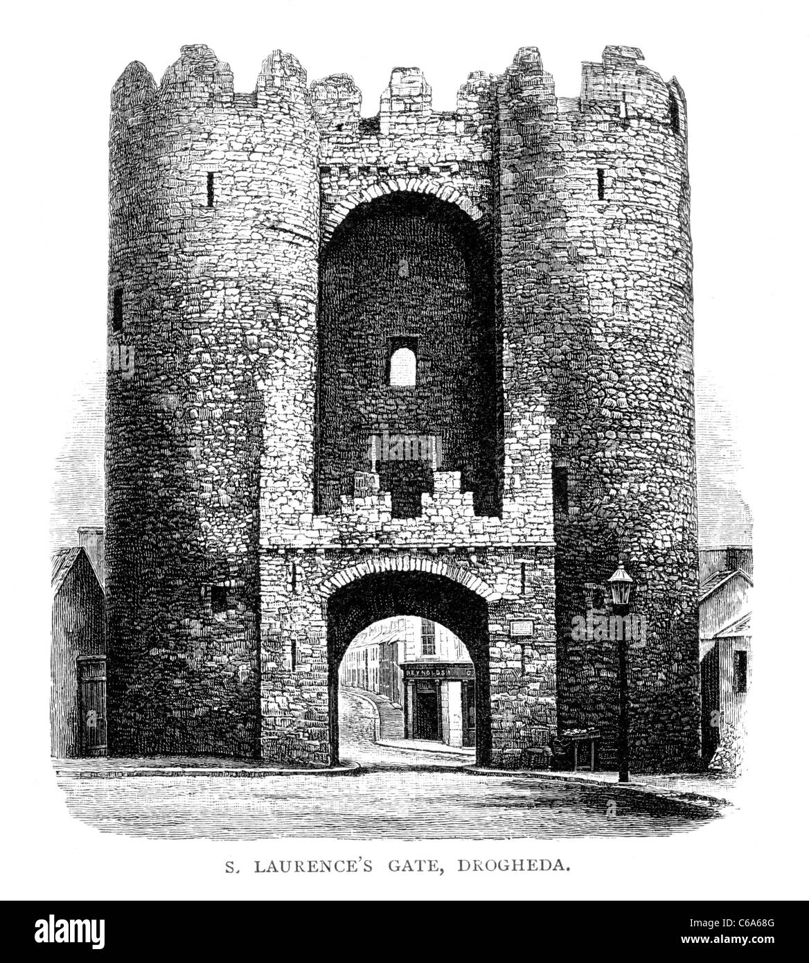 St Laurence's Gate, Drogheda, Ireland; 19th Century Black and White Illustration; Stock Photo